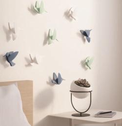 9 stk. Kolibri i hvid til ophæng med klæbemiddel