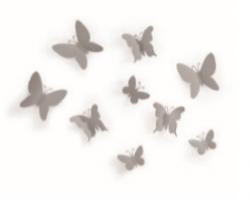 9 stk. Sommerfugle i grå til ophæng med klæbemiddel