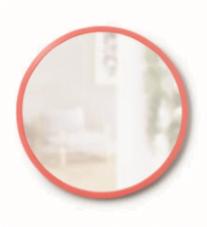 Cirkulært Hub spejl fra Umbra med grå gummikant