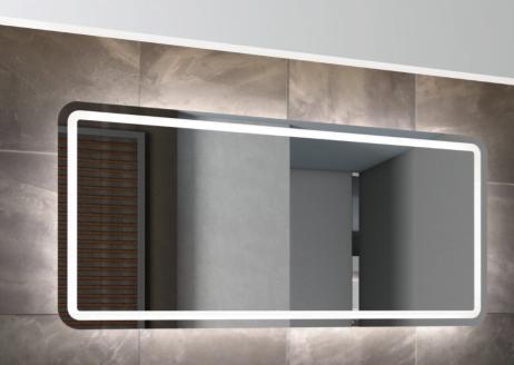 Fie afrundet, firkantet spejl m. LED belysning - MANGE STØRRELSER