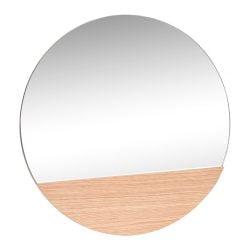 Spejl, rund, egetræ fra Hübsch