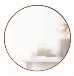 Stort cirklært spejl i med metal ramme i messing look
