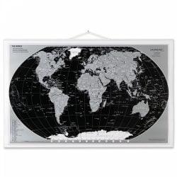 Rullet Verdens kort Sort/Sølv 97 x 67 cm