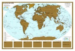 Rullet Skrabe Verdens kort 97 x 67 cm.