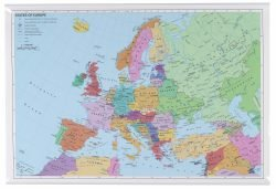 Rullet Europa kort 97 x 67 cm.