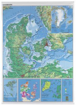 Rullet Danmarks kort 97 x 137 cm