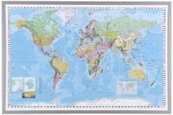 Indrammet Verdens kort 90 x 60 cm.