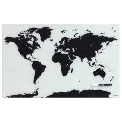 Glas Verdens kort 80 x 50 cm.