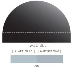 ALU-FARVET stænkpanel m. bue i JERNFRIT- glas, - FLERE STØRRELSER