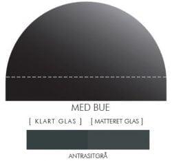 ANTRASITGRÅ stænkpanel m. bue i JERNFRIT- glas, - FLERE STØRRELSER