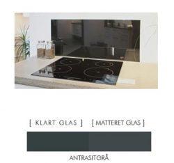 ANTRESTIKGRÅ stænkpanel firkantet JERNFRIT- glas, - FLERE STØRRELSER