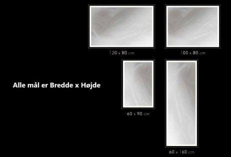 CUSTOM / SPECIALMÅL - Spejl, 6mm. m/LED lys i front dansk produceret