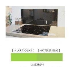LIMEGRØN stænkpanel firkantet JERNFRIT- glas, - FLERE STØRRELSER