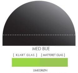 LIMEGRØN stænkpanel m. bue i JERNFRIT- glas, - FLERE STØRRELSER