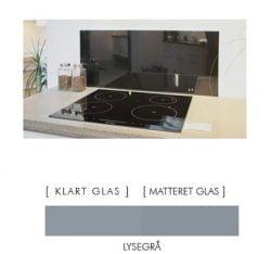 LYSEGRÅ stænkpanel firkantet JERNFRIT- glas, - FLERE STØRRELSER