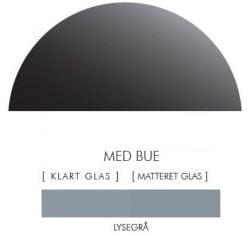 LYSEGRÅ stænkpanel halvcirkel i JERNFRIT- glas, - FLERE STØRRELSER