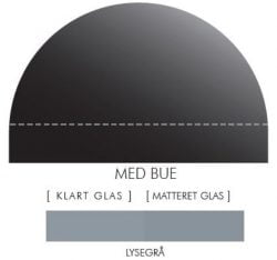 LYSEGRÅ stænkpanel m. bue i JERNFRIT- glas, - FLERE STØRRELSER