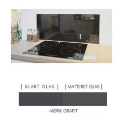 MØRK GRAFIT stænkpanel firkantet JERNFRIT- glas, - FLERE STØRRELSER