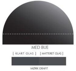 MØRK GRAFIT stænkpanel m. bue i JERNFRIT- glas, - FLERE STØRRELSER