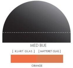 ORANGE stænkpanel m. bue i JERNFRIT- glas, - FLERE STØRRELSER