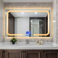 Premium LED Badeværelse spejl med  Antidug,Touchsensor, Ur og Bluetooth højtalere