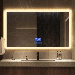 Premium badeværelse spejl LED, Antidug,Touchsensor, Ur og Bluetooth højtalere