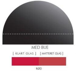 RØD stænkpanel m. bue i JERNFRIT glas, - FLERE STØRRELSER