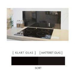 SORT stænkpanel firkantet JERNFRIT- glas, - FLERE STØRRELSER