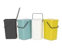 Affaldsspand m/ Låg - 16 Liter Grå inkl. vægbeslag