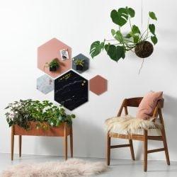 Magnetisk glastavle Hexagonal 21 cm. - flere farver