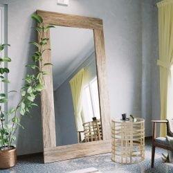 Spejl | Mamba Spejl med Lys Træramme - Højde: 200 cm