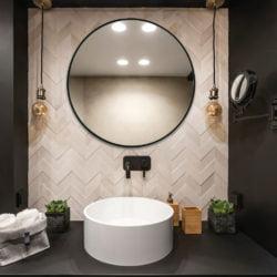 Premium rund spejl med sort Aluminimums ramme