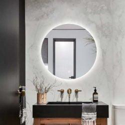 Premium rundt badeværelses spejl med LED, Antidug og Touchsensor