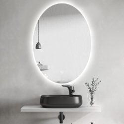Premium Ovalt Badeværelse spejl med LED, Antidug og Sensor