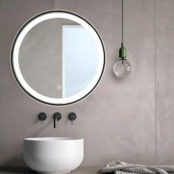 Premium LED Badeværelse spejl med sort alu ramme  Antidug,Touchsensor