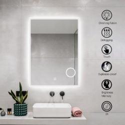 Premium badeværelses spejl med LED, Antidug, Touchsensor, Makeupp
