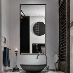 Premium spejl med sort trælook ramme