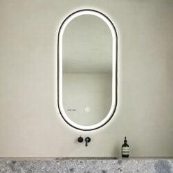 Premium spejl Oda med LED lys og sort alu ramme - Flere størrelser