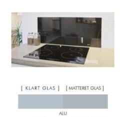 ALUFARVET stænkpanel firkantet JERNFRIT- glas, - FLERE STØRRELSER