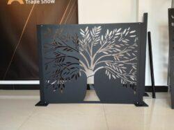 Skillevæg i sort pulverlakering 120 h x 100 b cm (med fod)