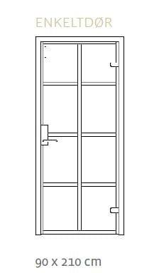Enkeltdør til glasvæg 90x210 cm i ægte new york stil, flot design