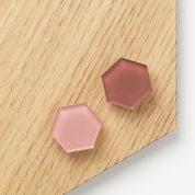 Super stærk magnet hexagon med rosa og terracotta akryl (2 stk)
