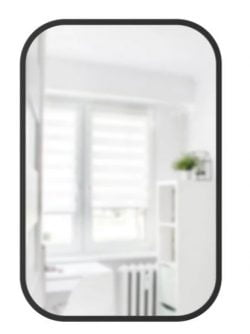 Nav Rektangel Spejl - Sort