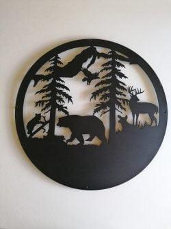 Skovens dyr illustration i sort pulverlakert stål