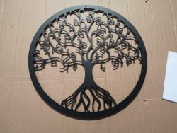 Træ illustration i sort pulverlakeret stål